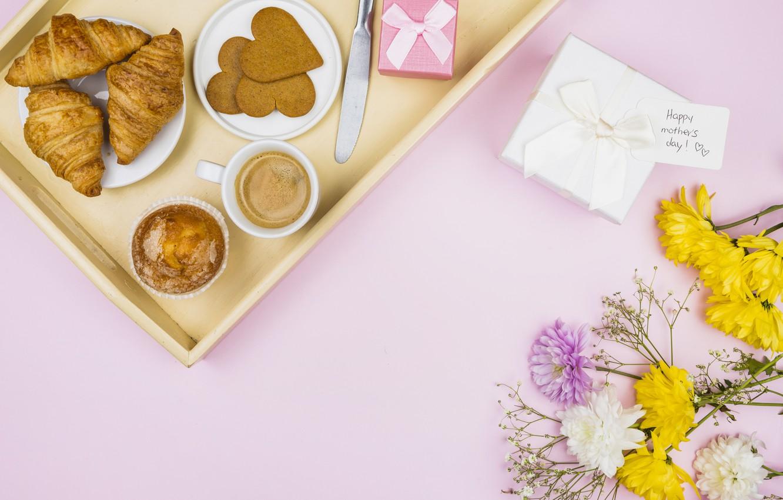 Photo wallpaper flowers, coffee, Breakfast, cakes, tray, cupcake, croissants