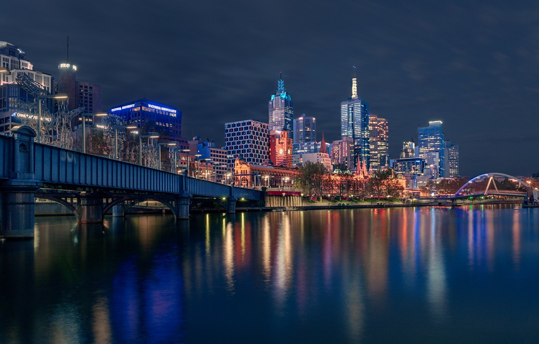 Photo wallpaper bridge, river, building, home, Australia, night city, skyscrapers, Melbourne, Yarra River, Australia, Melbourne, Sandridge Bridge, …