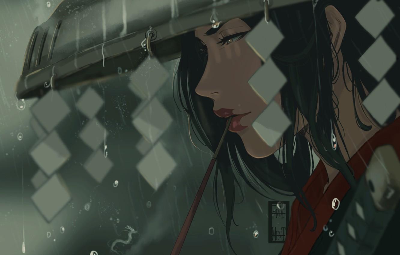 Photo wallpaper Japan, Rain, Face, Warrior, Japan, Samurai, Fantasy, Heroes, Japanese, Art, Warrior, Rain, Samurai, Illustration, Characters, …