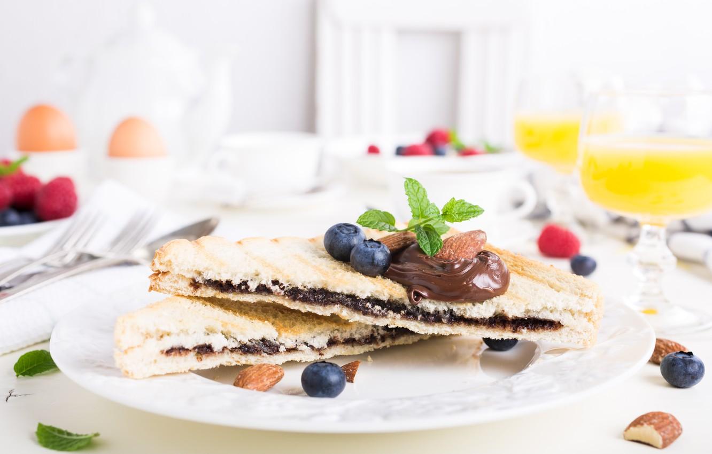 Photo wallpaper chocolate, Breakfast, juice, toast