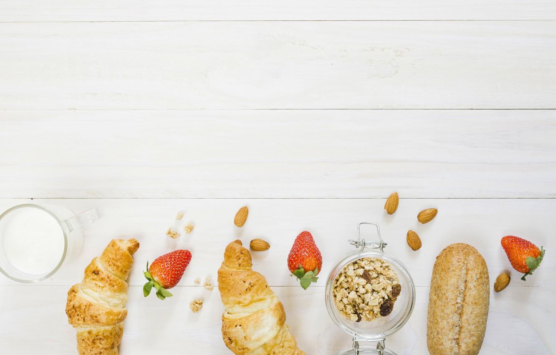 Photo wallpaper berries, Breakfast, bread, yogurt