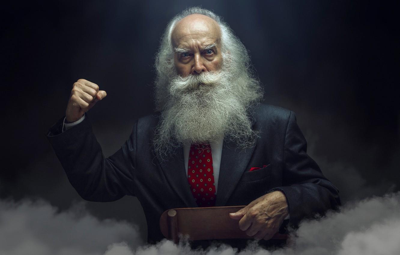 Photo wallpaper look, smoke, grandfather, beard