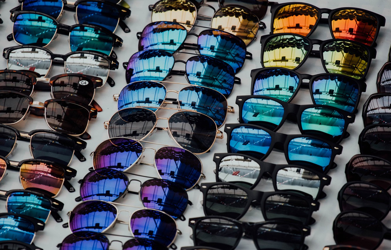 Photo wallpaper reflection, glasses, collection