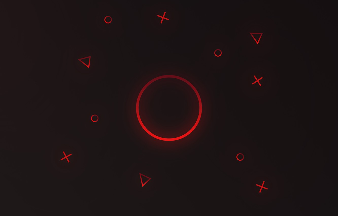Photo wallpaper circles, red, graphics, triangles, round, pros, TIC, red gradient