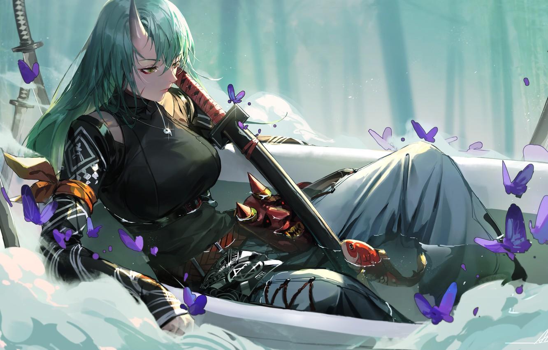 Photo wallpaper Girl, The game, Girl, Butterfly, Swords, Art, Art, Bath, Game, Green hair, Bath, Swords, Butterflies, …