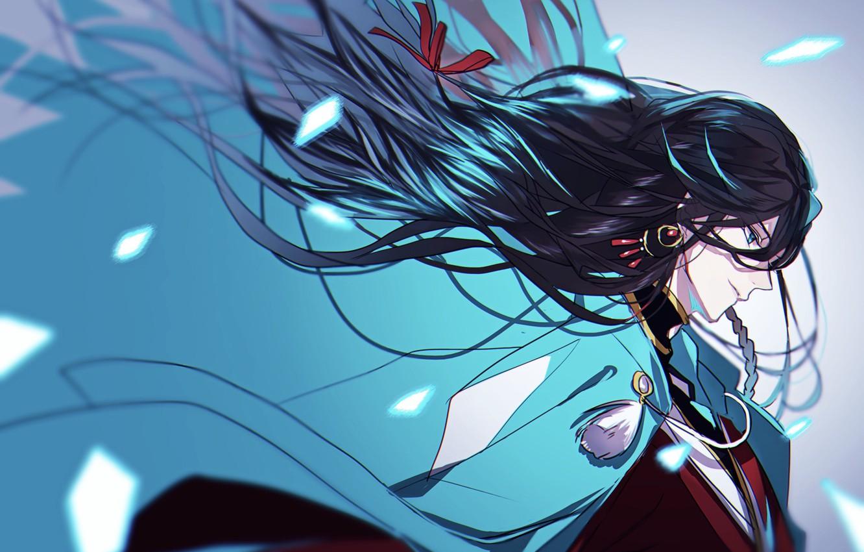 Photo wallpaper the wind, samurai, cloak, long hair, in profile, Touken Ranbu, Dance Of Swords, Izumi from …