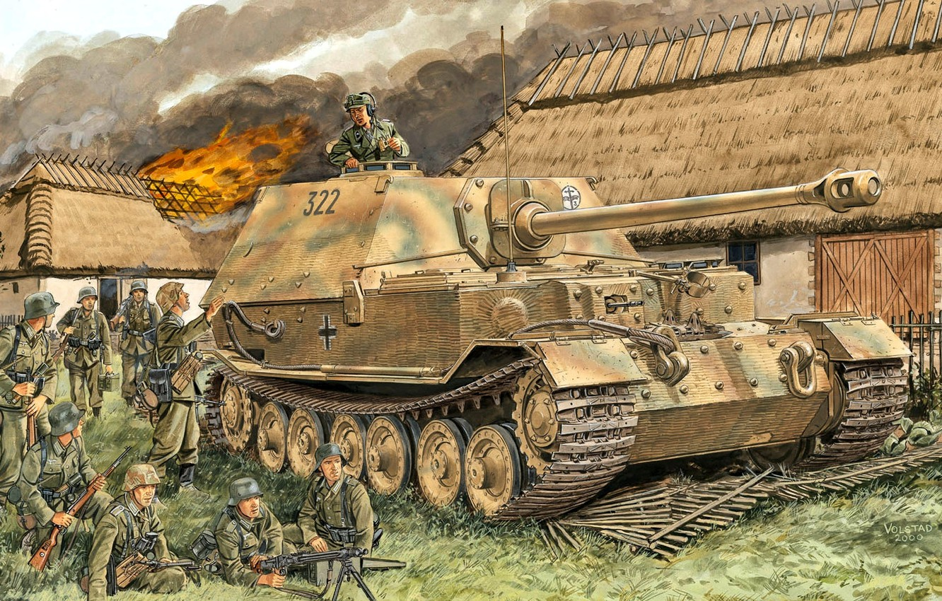 Photo wallpaper MG-42, Elefant, The Wehrmacht, 653 Heavy Tank Hunter Department, Fence, Burning house, soldiers