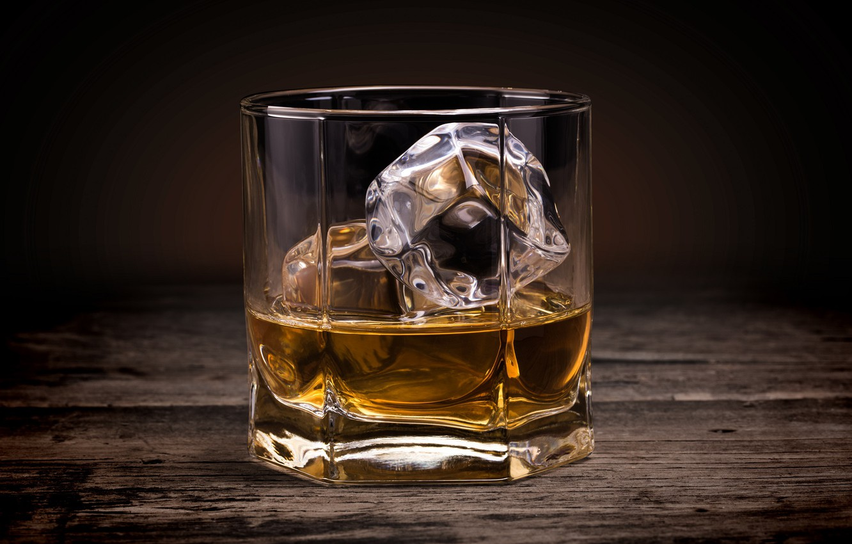 Photo wallpaper glass, ice, alcohol, ice, drink, whiskey, smoke, Whiskey