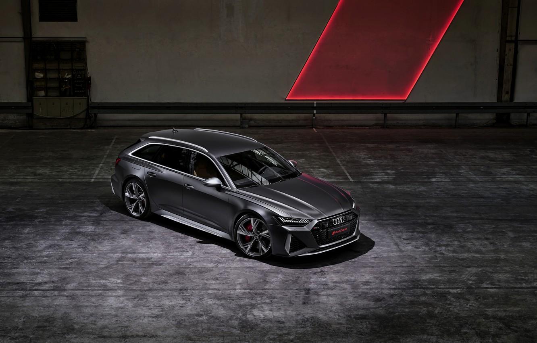 Photo wallpaper Audi, top, universal, RS 6, 2020, 2019, dark gray, V8 Twin-Turbo, RS6 Avant