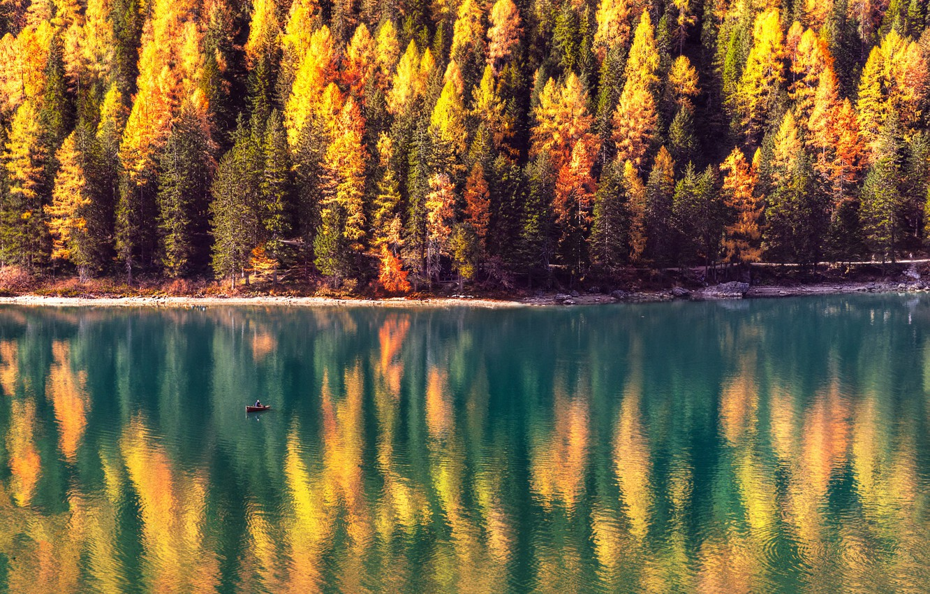 Photo wallpaper autumn, forest, the sun, trees, lake, boat, Alps, Italy, The Dolomites, Braies