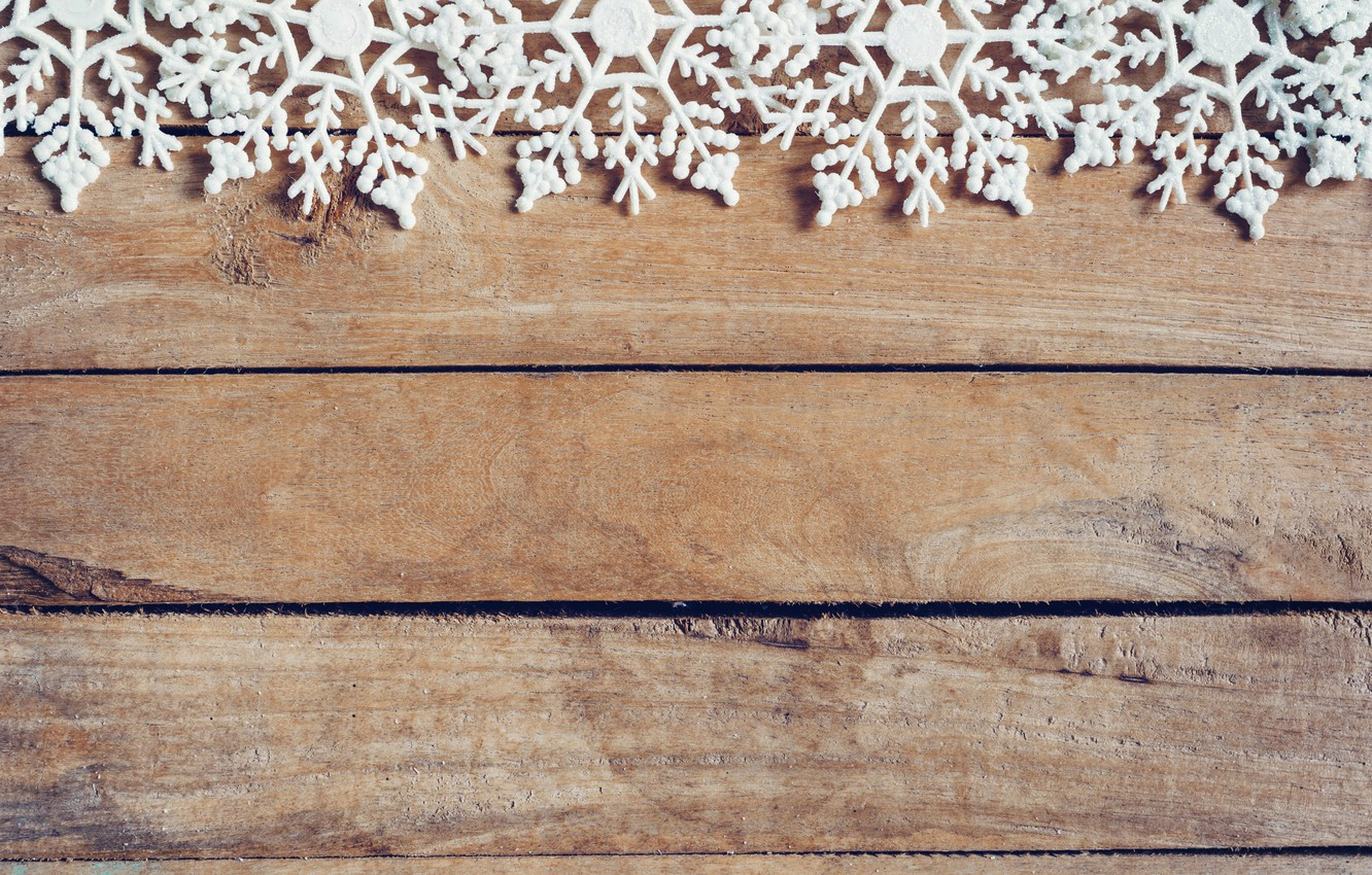 Photo wallpaper winter, snowflakes, tree, Board, New Year, new year, wood, winter, background, snowflakes, decoration
