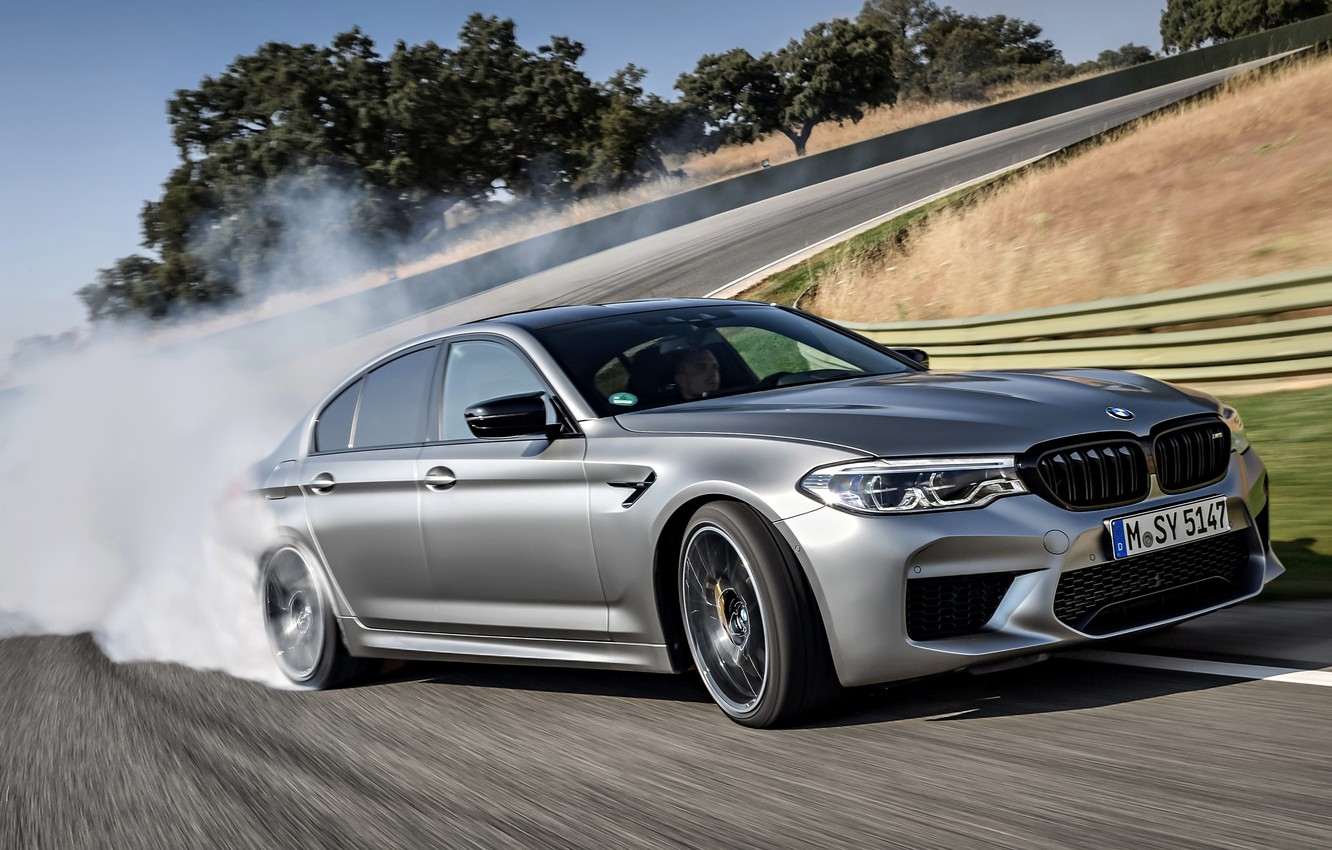 Photo wallpaper grey, smoke, track, BMW, sedan, 4x4, 2018, four-door, M5, V8, F90, M5 Competition, the exit …