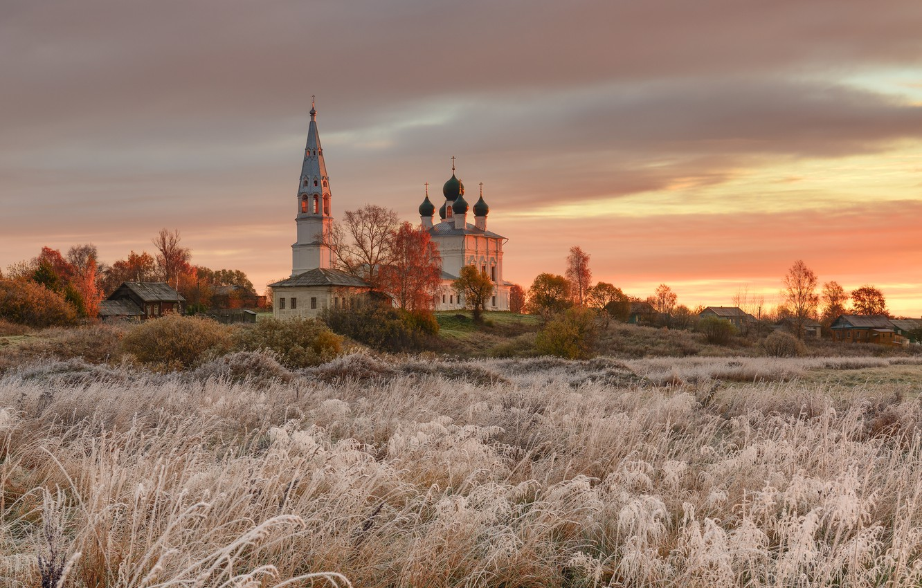 Photo wallpaper frost, autumn, landscape, nature, tower, home, village, temple, grass, Maxim Evdokimov