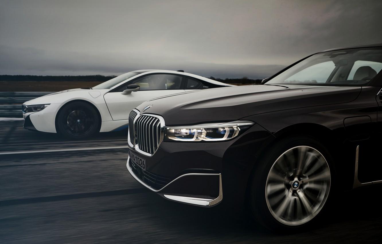 Photo wallpaper coupe, BMW, sedan, hybrid, the front part, four-door, G12, i8, 7, 7-series, 2019, longer wheel …