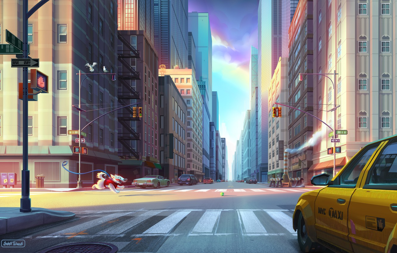 Photo wallpaper Road, Dog, The city, Street, Running, Building, City, Dog, Taxi, New York, New York, Street, …