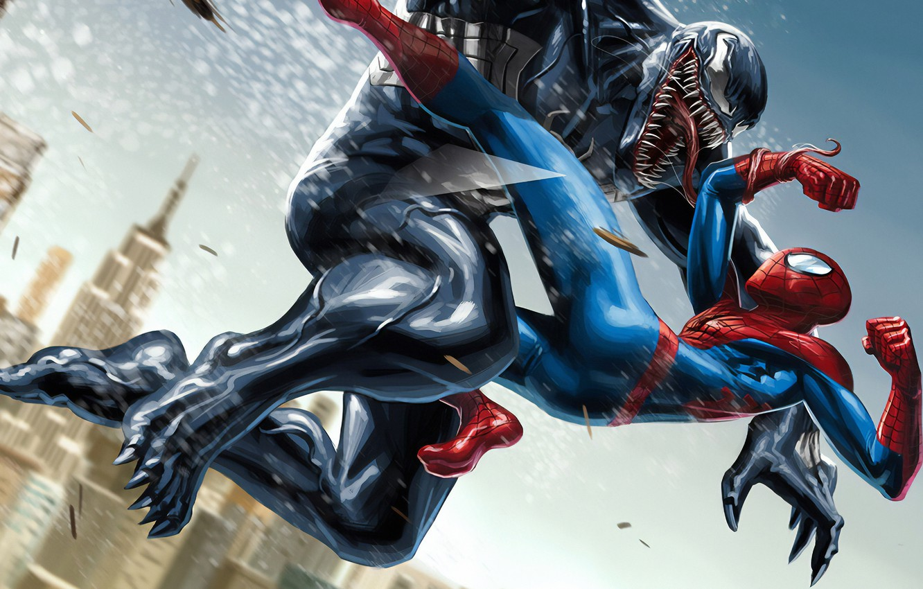 Photo wallpaper Marvel, Venom, Peter Parker, Spider Man, Eddie Brock, Comics Art