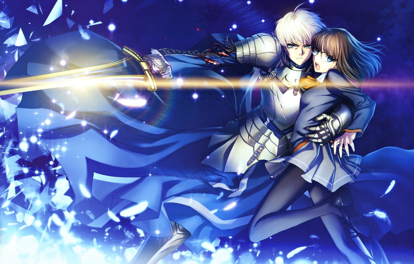 Photo wallpaper girl, sword, guy, knight, the saber, Fate stay night, Fate / Stay Night