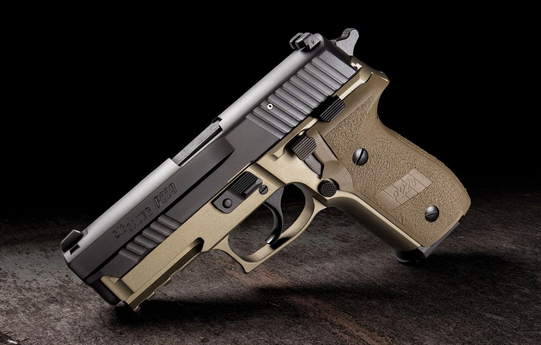 Photo wallpaper gun, weapons, background, beige