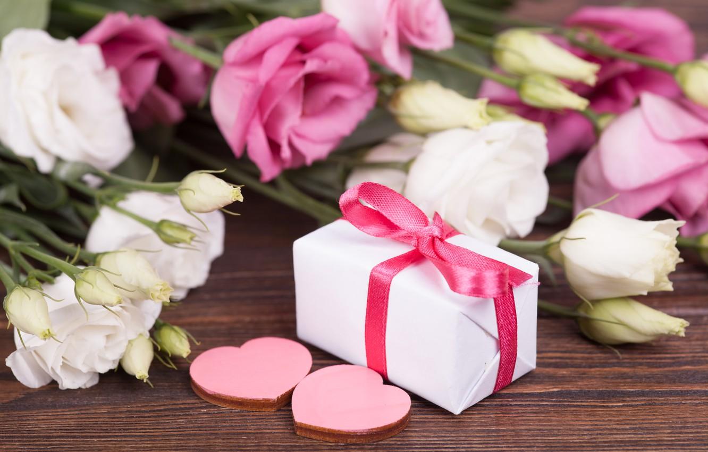 Photo wallpaper love, flowers, gift, heart, love, white, heart, pink, flowers, romantic, valentine's day, eustoma, gift box, …