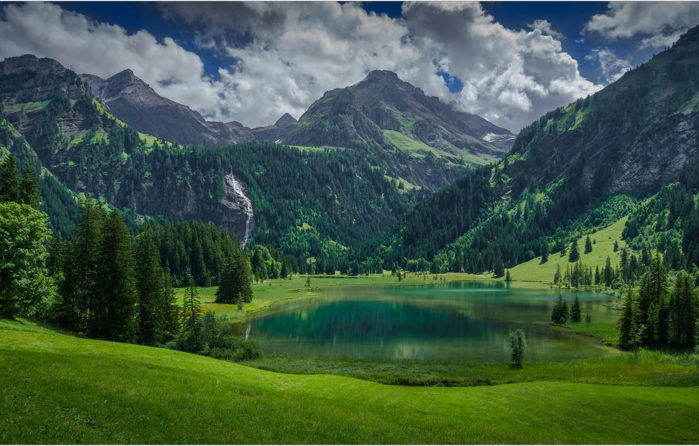 Photo wallpaper mountains, lake, Switzerland, Lauenen
