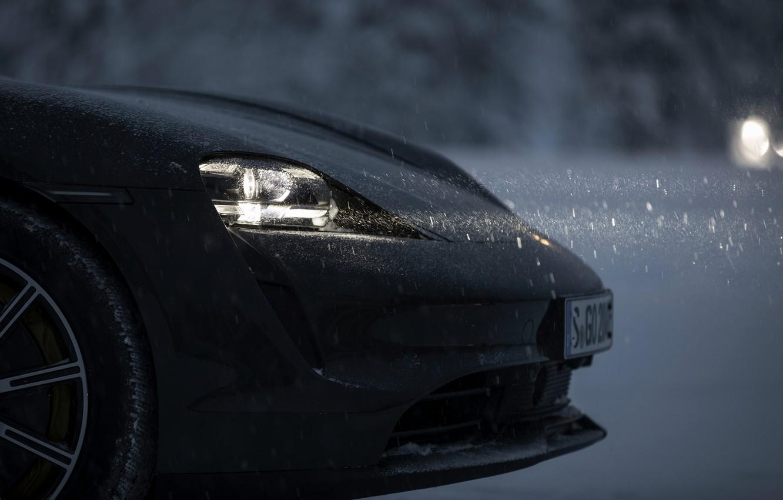 Photo wallpaper light, snow, black, Porsche, the front part, 2020, Taycan, Taycan 4S