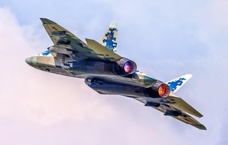 Photo wallpaper multi-role fighter, Videoconferencing Russia, the fifth generation fighter, Su-57, Su-57
