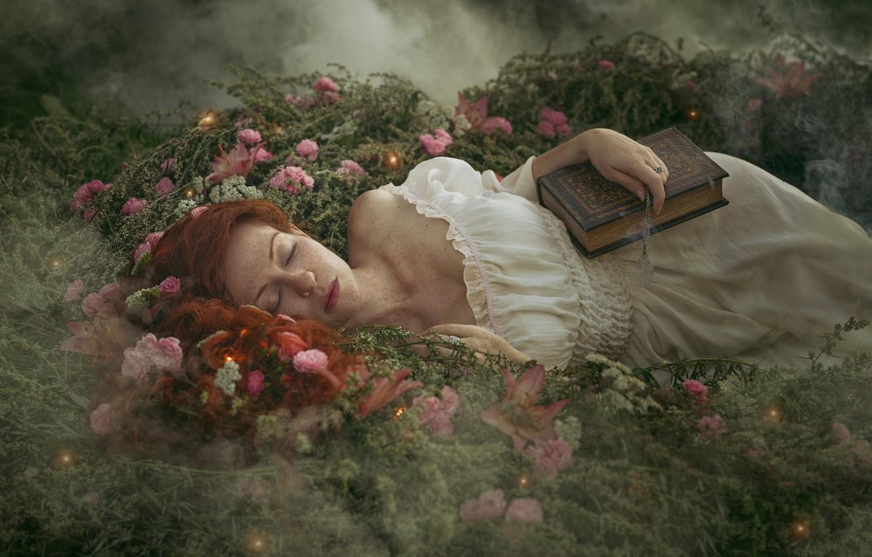 Photo wallpaper girl, flowers, nature, fog, sleep, dress, freckles, book, red, shoulder, Алёна Жаак