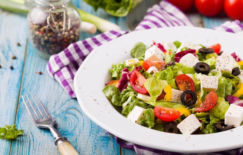 Photo wallpaper tomatoes, salad, olives, Greek, cheese