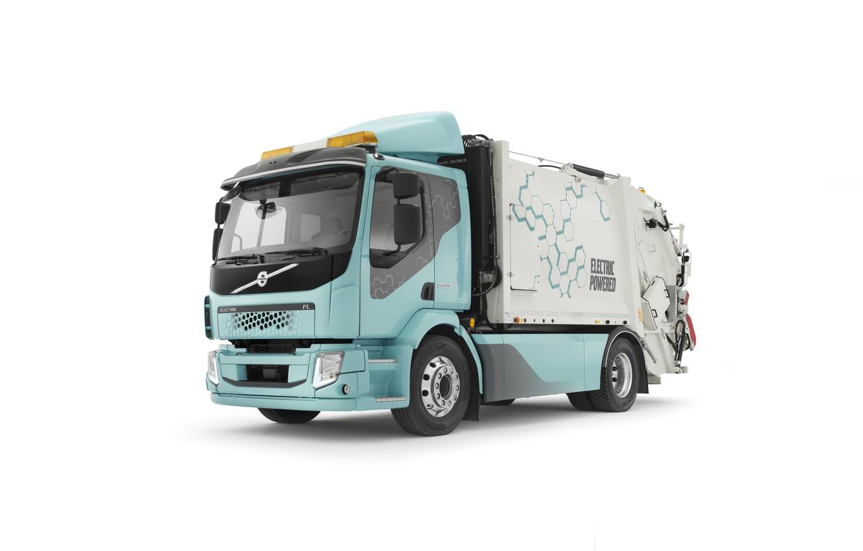 Photo wallpaper electric vehicle, volvo fl, garbage truck