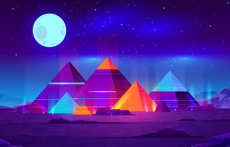 Photo wallpaper Moon, Art, Landscape, Creative, Night, Abstract Art, Pyramids
