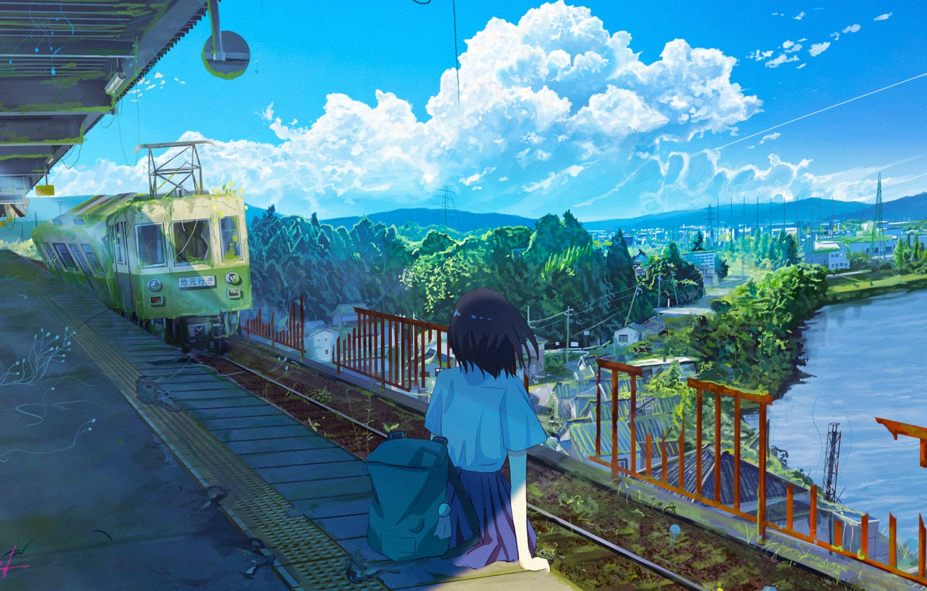 Photo wallpaper water, girl, train, home, station, abandoned