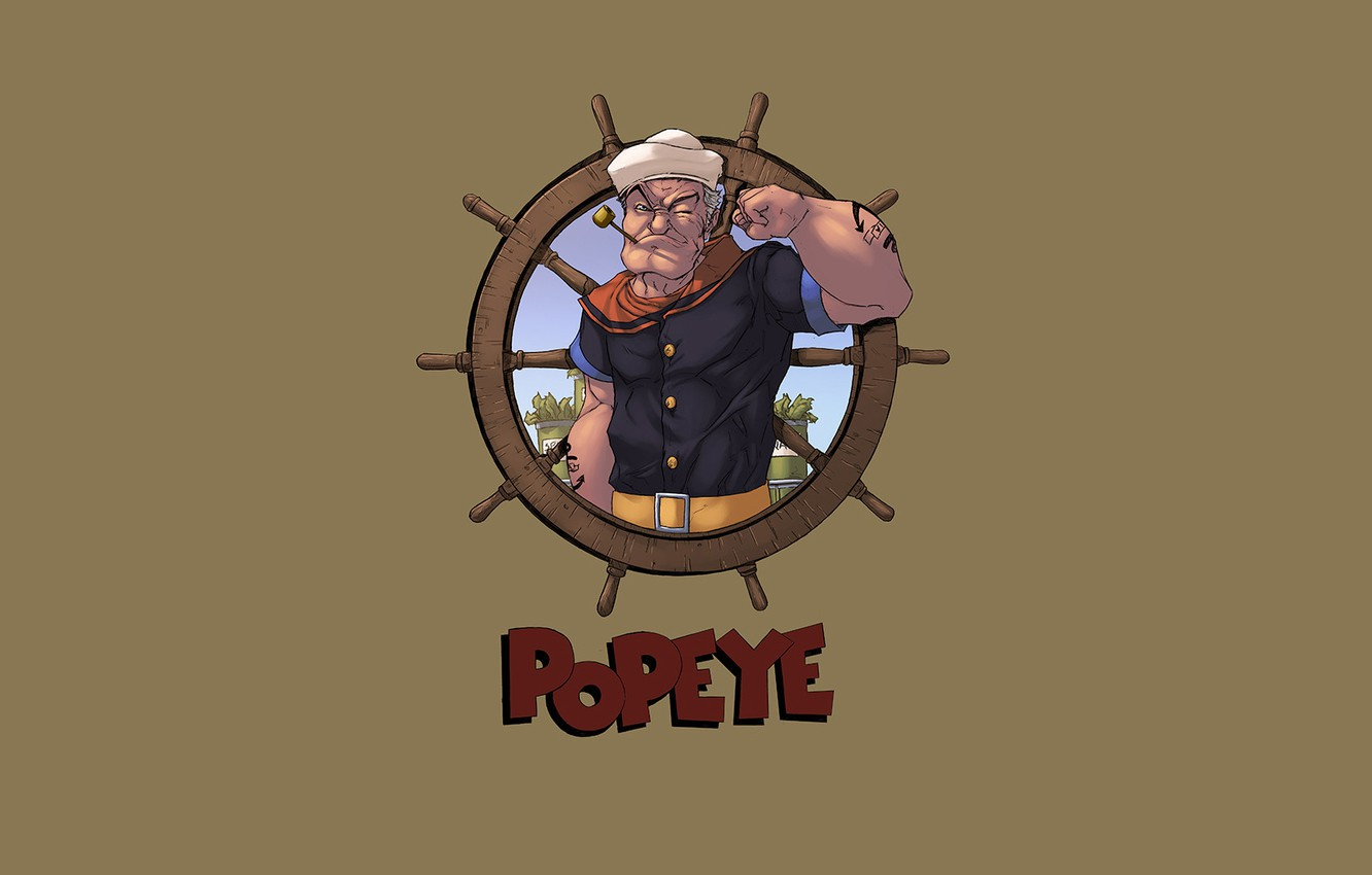 Photo wallpaper Art, Old, Popeye, Character, Popeye the Sailor, logicfun color