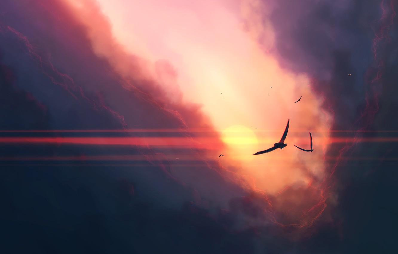 Photo wallpaper sky, sunset, art, clouds, birds, sun, artist, digital art, artwork, JoeyJazz