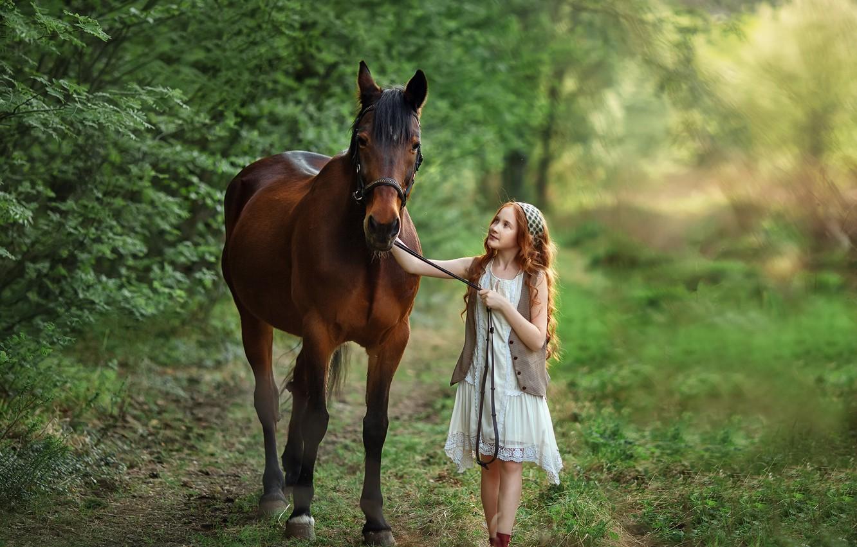 Photo wallpaper summer, nature, horse, girl, walk