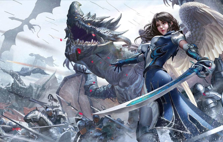 Photo wallpaper Girl, Dragon, War, Armor, Girl, Sword, Warrior, Wings, Fantasy, Dragon, Art, Dragons, Warrior, Fiction, War, …