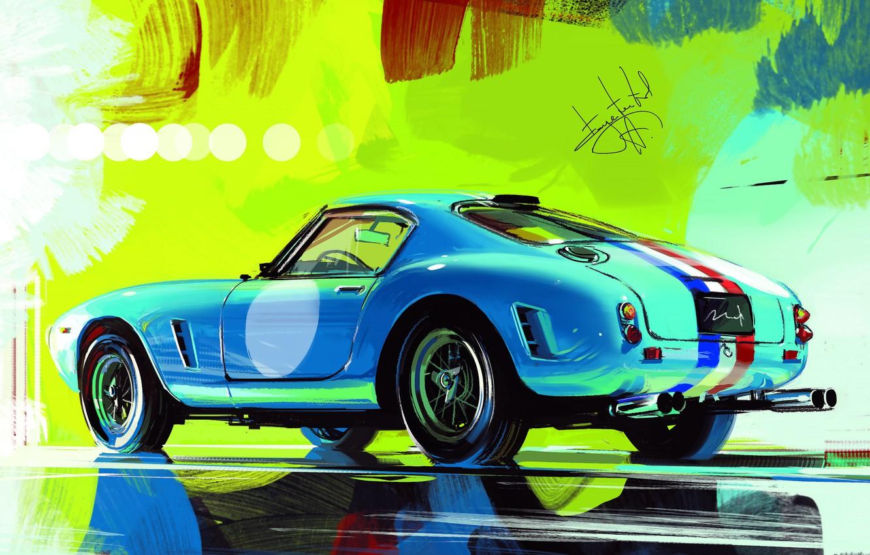 Photo wallpaper Car, Art, Retro, Sketch, Alexander Sidelnikov, Ferrari 250 GT SWB Berlinetta