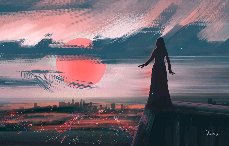 Photo wallpaper Sunset, The sun, Girl, Figure, The city, Sun, Sincerity, Pramita Xsr, by Pramita Xsr