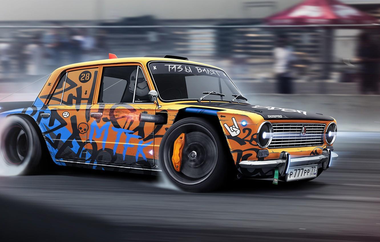 Photo wallpaper Auto, Machine, Drift, Rendering, Vaz, Attack, DizePro, Dmitry Strukov, by Dmitry Strukov, Dize_pro, Drift Monster, …