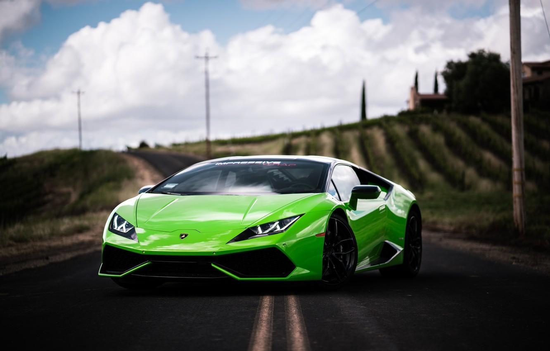 Photo wallpaper Lamborghini, Green, VAG, Huracan