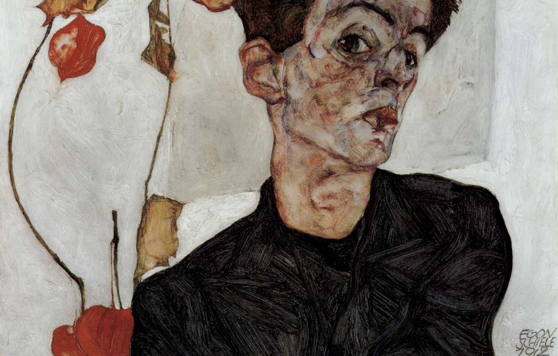 Photo wallpaper Self portrait, Egon Schiele, with flowers lanterns