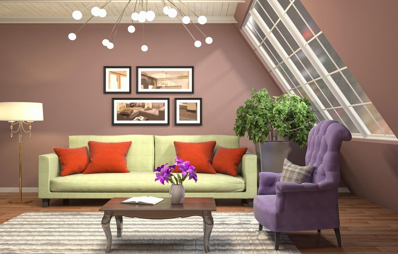 Photo wallpaper design, sofa, interior, pictures, living room, living room, modern