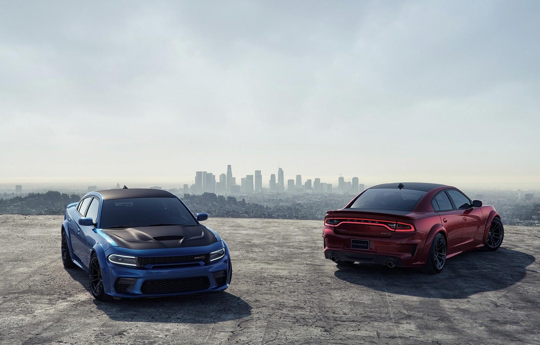Photo wallpaper Red, Auto, Blue, Machine, Car, Car, Render, Dodge Charger, Hellcat, Rendering, SRT, Sports car, Dodge …