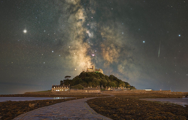 Photo wallpaper stars, island, Jupiter, The Milky Way, meteors, stars, island, Milky Way, Cornwall, Cornwall, Jupiter, St …