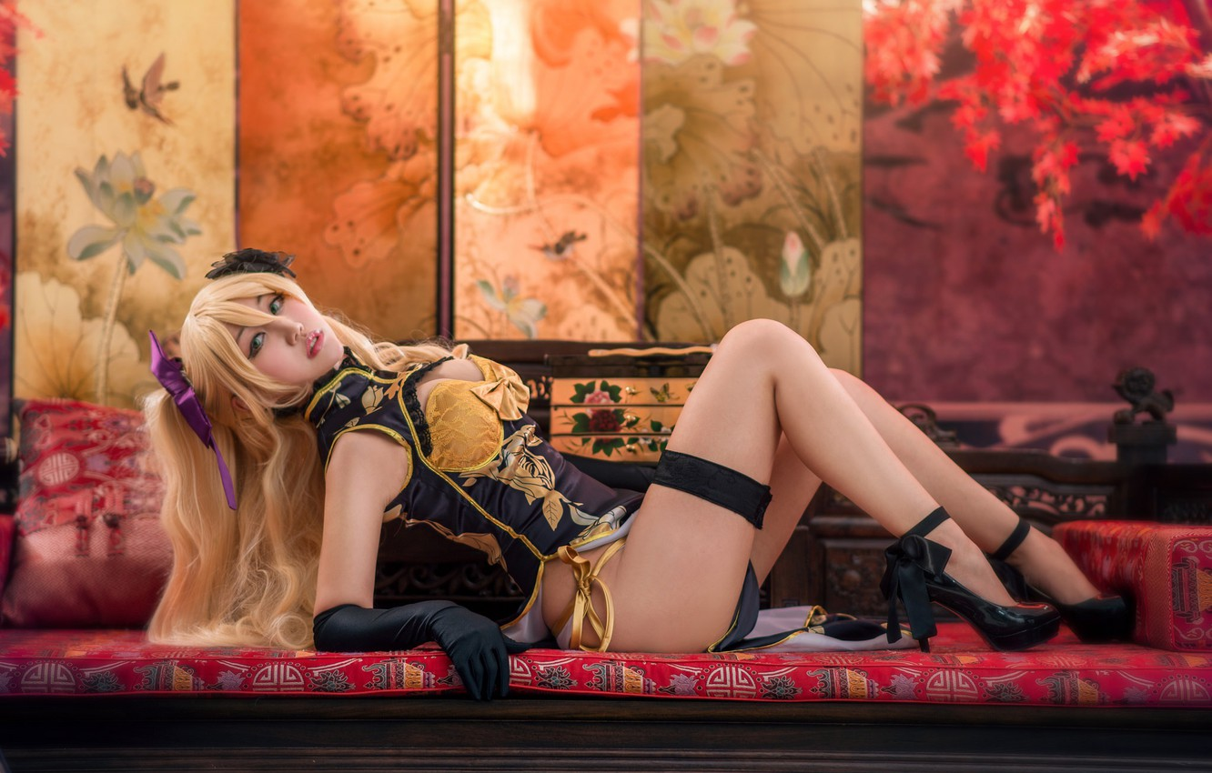 Photo wallpaper look, girl, face, sexy, pose, style, background, room, sofa, feet, furniture, interior, hands, blonde, costume, …