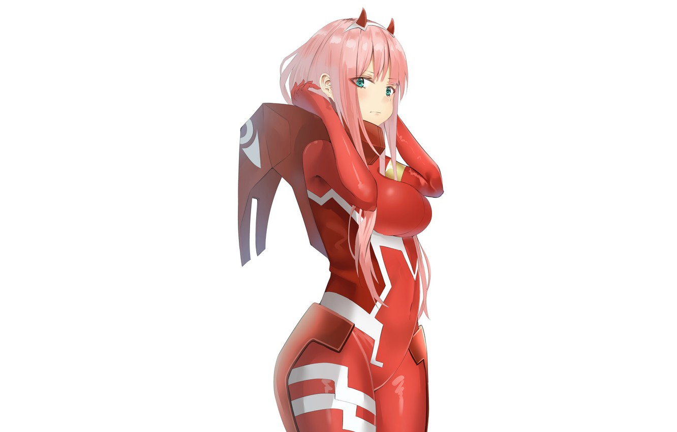 Photo wallpaper look, girl, anime, art, costume, white background, 002, Darling In The Frankxx, Cute in France