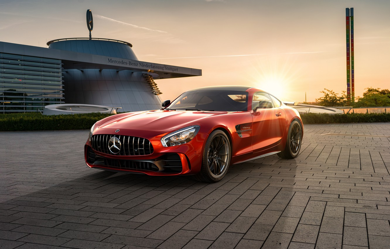Photo wallpaper sunset, rendering, Mercedes-Benz, AMG, CGI, GT R, 2019, by Ahmed Anas