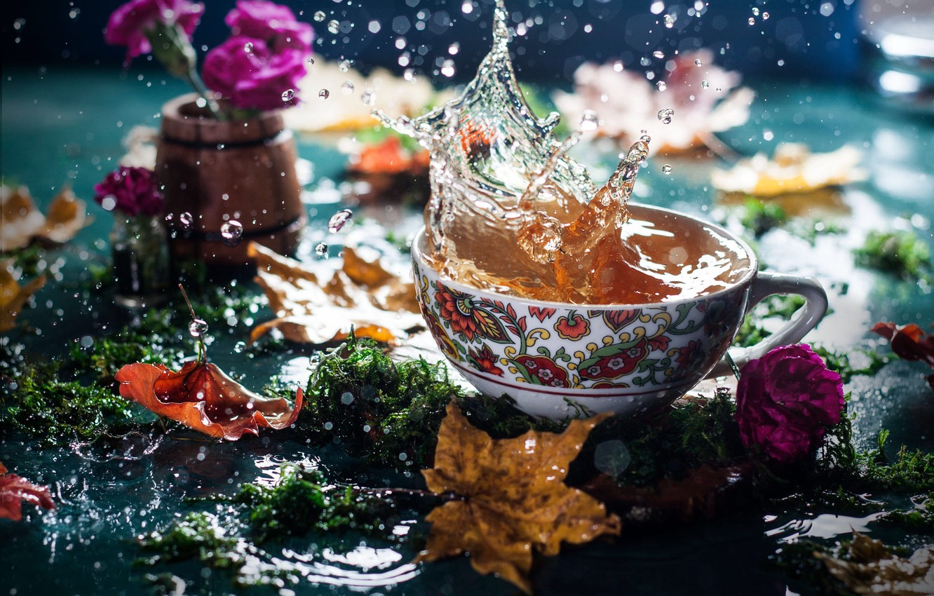 Photo wallpaper autumn, leaves, water, flowers, squirt, tea, moss, Cup, bokeh