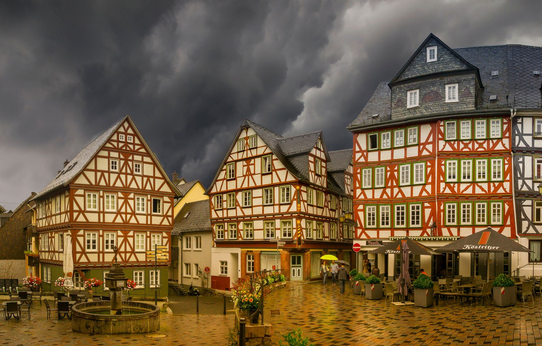 Photo wallpaper rain, overcast, building, home, Germany, area, fountain, Germany, Wetzlar, Wetzlar