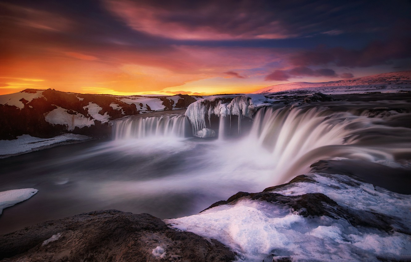 Wallpaper Cold Winter The Sky Water Snow Sunset Mountains Clouds The Dark Background Hills Shore Waterfall Stream Icicles North Bright Colors Images For Desktop Section Pejzazhi Download