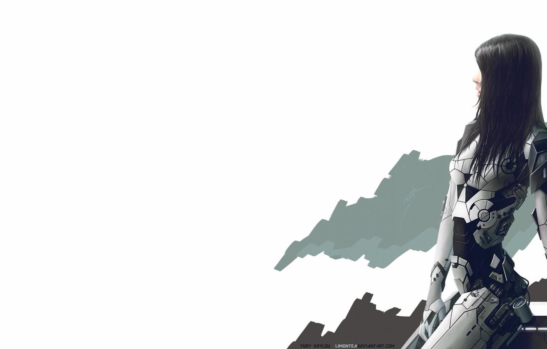 Photo wallpaper Girl, Minimalism, White, Girl, Background, Fur, Art, Cyborg, Concept Art, Characters, Nano, Cyber, Science Fiction, …